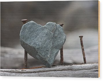 Heart Of Stone Wood Print by Cathie Douglas