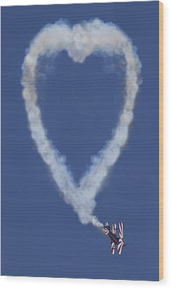 Heart Shape Smoke And Plane Wood Print by Garry Gay