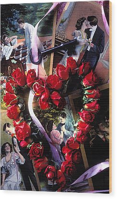 Heart Shaped Roses And Old Postcards Wood Print by Garry Gay