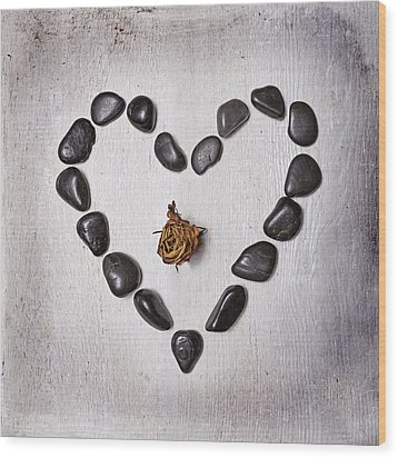 Heart With Rose Wood Print by Joana Kruse