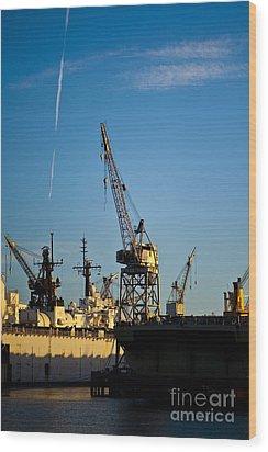 Heavy Equipment Cranes At Drydock Wood Print by Eddy Joaquim