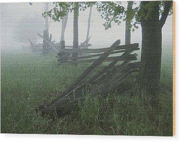 Heavy Fog Hangs Over Split Rail Fences Wood Print by Stephen St. John
