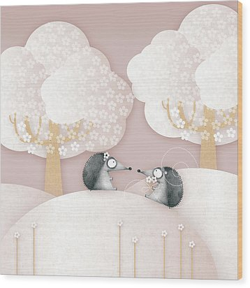 Hedgehogs - May Wood Print by ©cupofsnowflakes