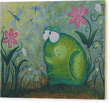 Hello Dragonfly Wood Print by Jennifer Alvarez