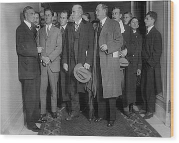 Henry Ford 1863-1947 With Reporters Wood Print by Everett