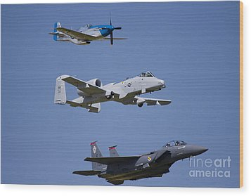 Heritage Flight Wings Over Whitman Wood Print by Linda Gardner-Goos