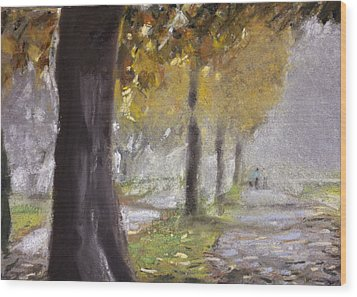 Herne Bay Park Fog 1 Wood Print by Paul Mitchell