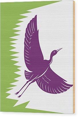 Heron Crane Flying Retro Wood Print by Aloysius Patrimonio
