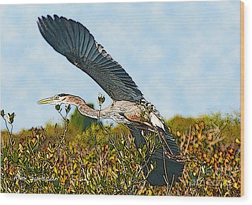 Heron Glide Wood Print by Alex Suescun
