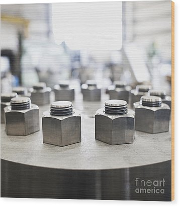 Hex Nuts Threaded On Bolts Wood Print by Jetta Productions, Inc