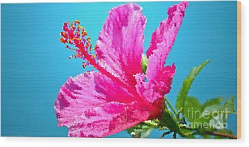 Hibiscus Crystal Luster Wood Print by Gwyn Newcombe