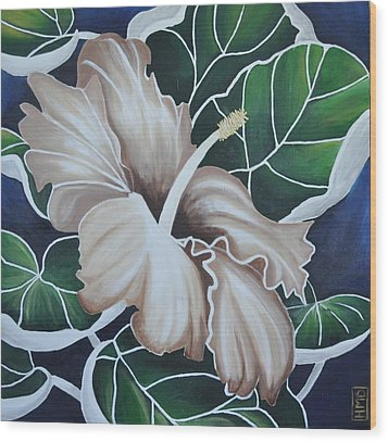 Hibiscus Wood Print by Holly Donohoe