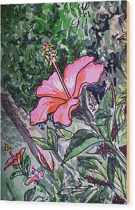 Hibiscus Sketchbook Project Down My Street  Wood Print by Irina Sztukowski
