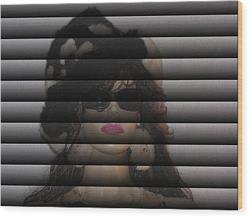 Hidden Behind The Blinds Wood Print by HollyWood Creation By linda zanini
