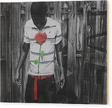 Hidden Heart Wood Print by Kodjo Somana