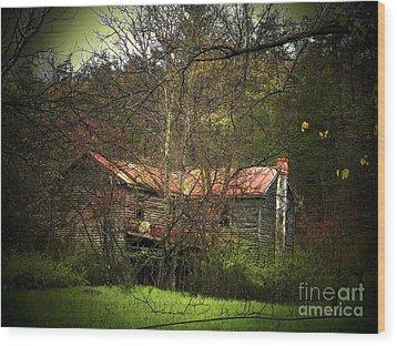 Hidden House In Spring Wood Print by Joyce Kimble Smith