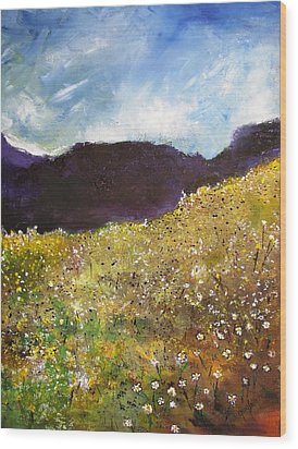 High Field Of Flowers Wood Print by Gary Smith