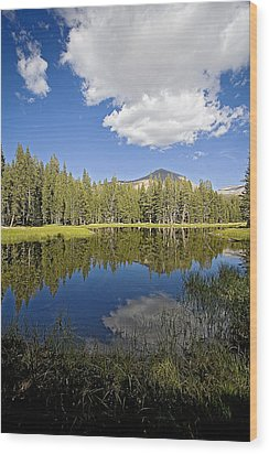 High Sierras Lake Wood Print by Bonnie Bruno