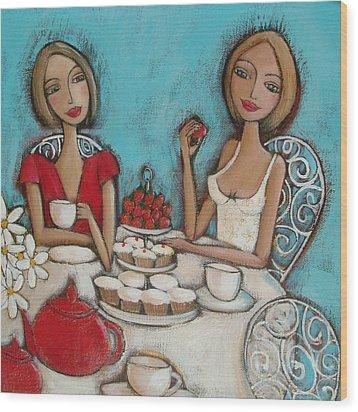 High Tea Wood Print by Denise Daffara