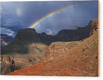 Hikers And Rainbow Kaibab Trail, Grand Wood Print by Ralph Lee Hopkins