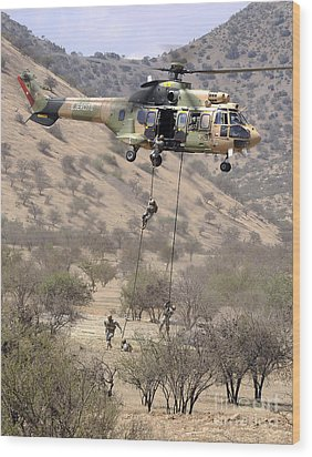 Hilean Special Forces Perform An Air Wood Print by Stocktrek Images