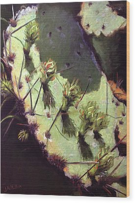 Hill Country Cactus Wood Print by Jacquie McMullen