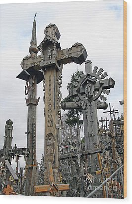 Hill Of Crosses 09. Lithuania Wood Print by Ausra Huntington nee Paulauskaite