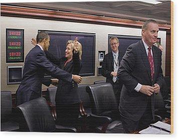 Hillary Clinton Joyfully Congratulates Wood Print by Everett