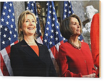 Hillary Clinton Stands With Speaker Wood Print by Everett