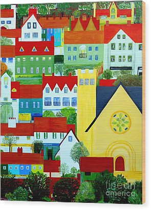 Hillside Village Wood Print