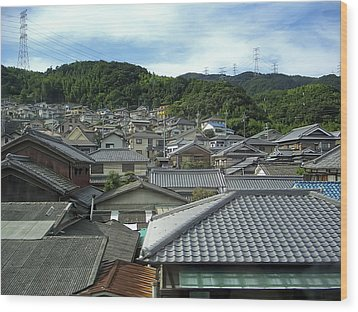 Hillside Village In Japan Wood Print by Daniel Hagerman