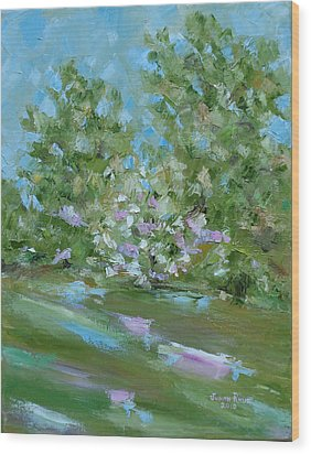 Wood Print featuring the painting Hilltop by Judith Rhue