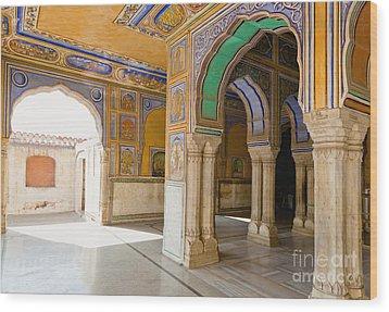 Hindu Palace Interior Wood Print by Inti St. Clair