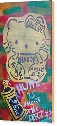 Hip Hop Kitty Wood Print by Tony B Conscious