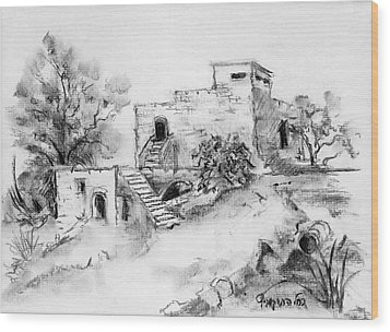 Hirbe Landscape In Afek Black And White Old Building Ruins Trees Bricks And Stairs Wood Print by Rachel Hershkovitz