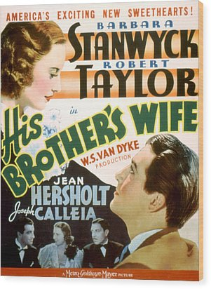 His Brothers Wife, Barbara Stanwyck Wood Print by Everett