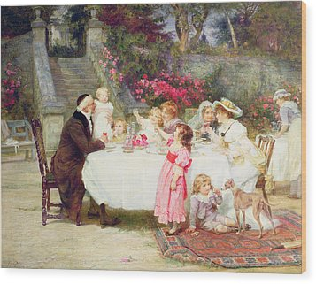 His First Birthday Wood Print by Frederick Morgan