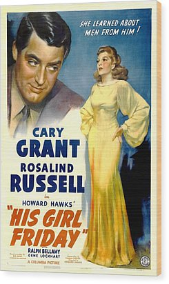 His Girl Friday, Cary Grant, Rosalind Wood Print by Everett