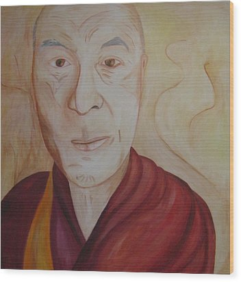 His Holiness The Dalai Lama Wood Print by Lorraine Toler