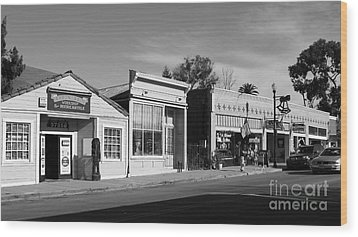 Historic Niles District In California Near Fremont . Main Street . Niles Boulevard . 7d10676  . Bw Wood Print by Wingsdomain Art and Photography