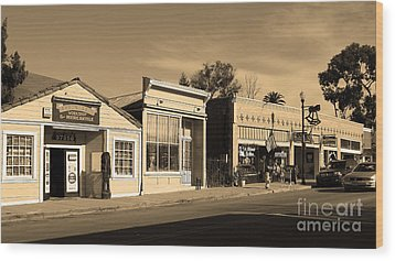 Historic Niles District In California Near Fremont . Main Street . Niles Boulevard . 7d10676 . Sepia Wood Print by Wingsdomain Art and Photography