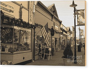 Historic Niles District In California Near Fremont . Main Street . Niles Boulevard . 7d10701 . Sepia Wood Print by Wingsdomain Art and Photography