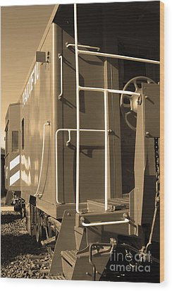 Historic Niles District In California Near Fremont . Western Pacific Caboose Train . 7d10622 . Sepia Wood Print by Wingsdomain Art and Photography