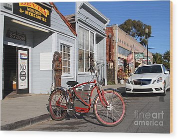 Historic Niles District In California.motorized Bike Outside Devils Workshop And Mercantile.7d12729 Wood Print by Wingsdomain Art and Photography