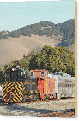 Historic Niles Trains In California . Old Southern Pacific Locomotive And Sante Fe Caboose . 7d10819 Wood Print by Wingsdomain Art and Photography