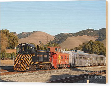 Historic Niles Trains In California . Old Southern Pacific Locomotive And Sante Fe Caboose . 7d10822 Wood Print by Wingsdomain Art and Photography