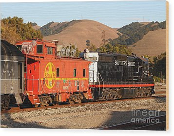 Historic Niles Trains In California . Old Southern Pacific Locomotive And Sante Fe Caboose . 7d10843 Wood Print by Wingsdomain Art and Photography