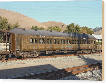 Historic Niles Trains In California . Old Western Pacific Passenger Train . 7d10836 Wood Print by Wingsdomain Art and Photography
