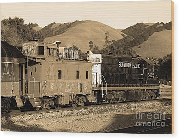 Historic Niles Trains In California.southern Pacific Locomotive And Sante Fe Caboose.7d10843.sepia Wood Print by Wingsdomain Art and Photography