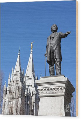 Historic Salt Lake Mormon Lds Temple And Brigham Young Wood Print by Gary Whitton
